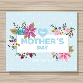 Cartão de dia das mães feliz com moldura de flores