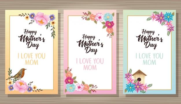 Cartão de dia das mães feliz com moldura floral pássaro e housebird