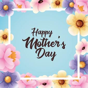 Cartão de dia das mães feliz com moldura quadrada de flores