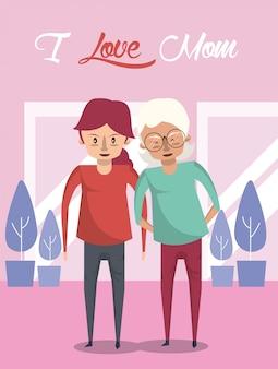 Cartão de dia das mães feliz com personagens de avó e filha