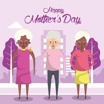 Cartão de dia das mães feliz com personagens de avós inter-raciais