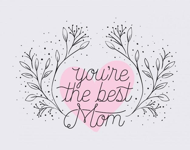 Cartão de dia das mães feliz com quadro de coração de ervas