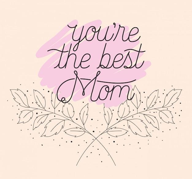 Cartão de dia das mães feliz com quadro de ervas