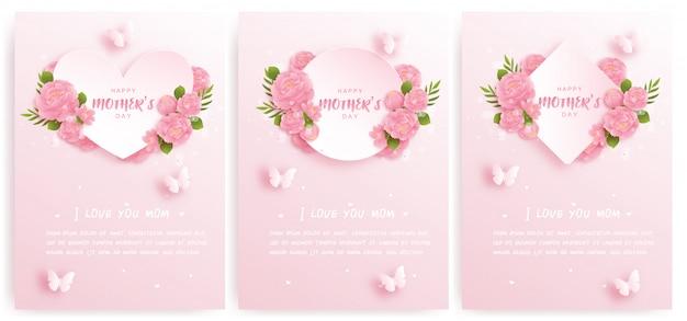 Cartão de dia das mães feliz conjunto com flores coloridas e borboletas.