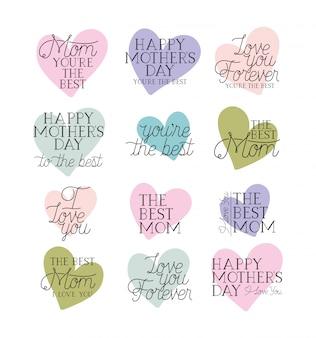 Cartão de dia das mães feliz definir mensagens de caligrafia