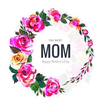 Cartão de dia das mães feliz e quadro decorativo flores circulares