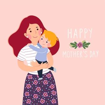 Cartão de dia das mães feliz. mãe carregando seu filho pequeno.