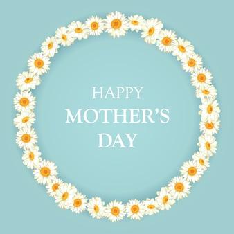 Cartão de dia das mães feliz. padrão de camomila azul vintage