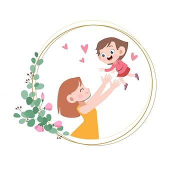 Cartão de dia das mães feliz saudação ilustração vetorial