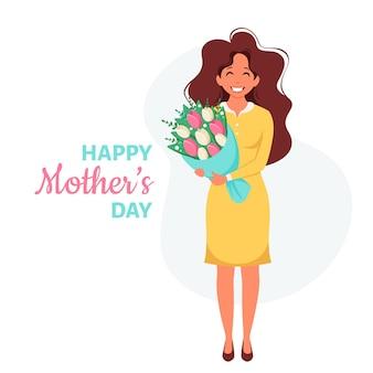 Cartão de dia das mães mulher com buquê de flores