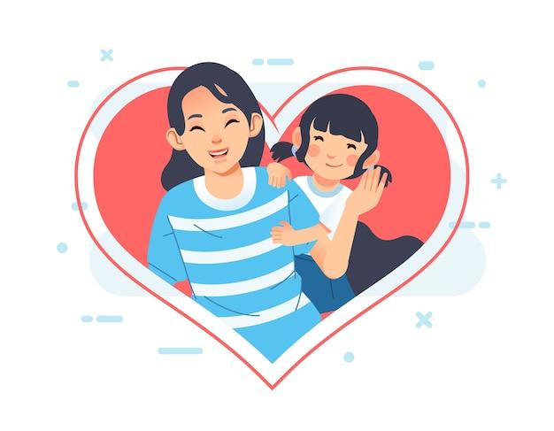 Cartão de dia das mães ou pôster com mãe e filha sorrindo amplamente