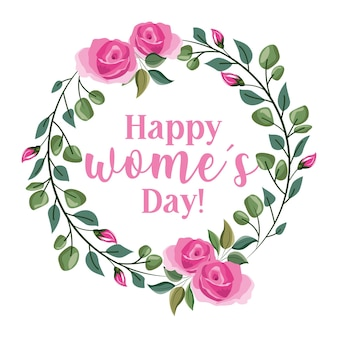 Cartão de dia das mulheres com coroa de rosas isoladas. ilustração