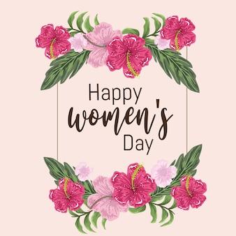 Cartão de dia das mulheres com decoração de flores