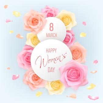 Cartão de dia das mulheres com rosas cor de rosa, amarelas e laranja sob dois banners redondos com texto de felicitações 8 de março, feliz dia da mulher