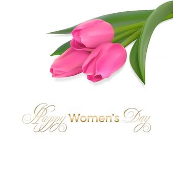 Cartão de dia das mulheres com tulipas cor de rosa e texto de fonte de caligrafia de parabéns