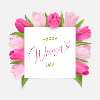 Cartão de dia das mulheres com undercard tulipas cor de rosa e leves com texto de fonte de caligrafia de parabéns