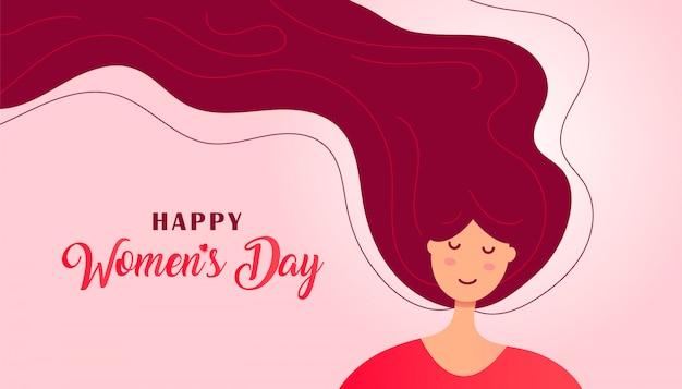 Cartão de dia das mulheres criativas com rosto bonito de uma mulher ou menina com cabelo e texto de saudação em um fundo branco.