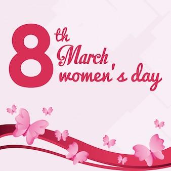 Cartão de dia das mulheres de 8 de março com vôo de borboleta