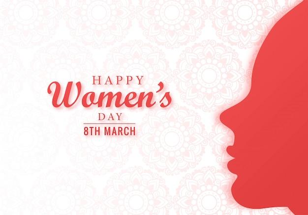 Cartão de dia das mulheres feliz com rosto bonito
