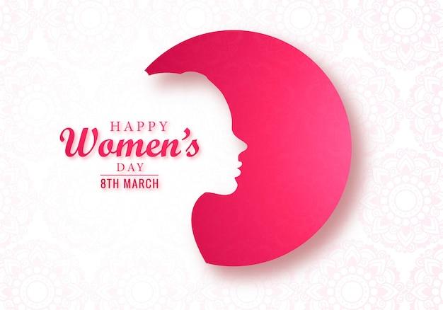 Cartão de dia das mulheres lindo rosto feminino