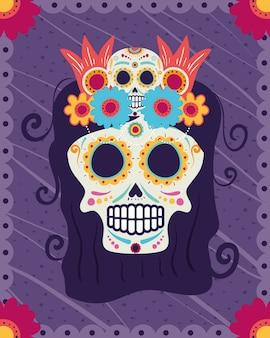 Cartão de dia de los muertos com cabeça de caveira catrina