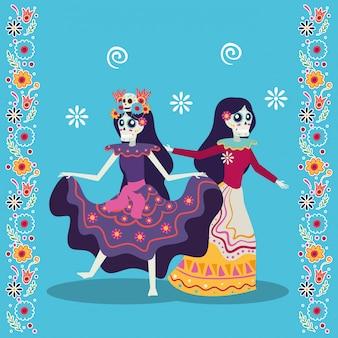 Cartão de dia de los muertos com catrinas dançando personagens