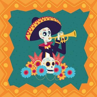 Cartão de dia de los muertos com caveira mariachi tocando trompete