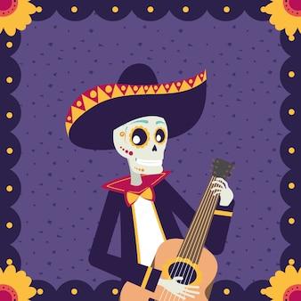 Cartão de dia de los muertos com caveira mariachi tocando violão