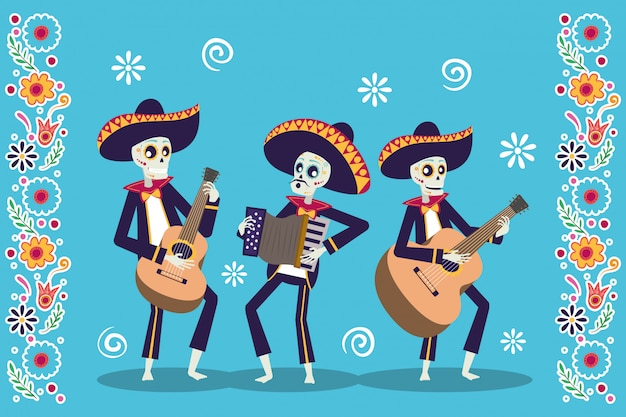 Cartão de dia de los muertos com caveiras mariachis tocando instrumentos