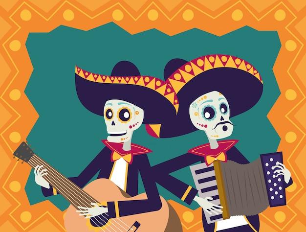 Cartão de dia de los muertos com caveiras mariachis tocando violão e acordeão