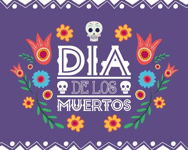 Cartão de dia de los muertos com decoração floral