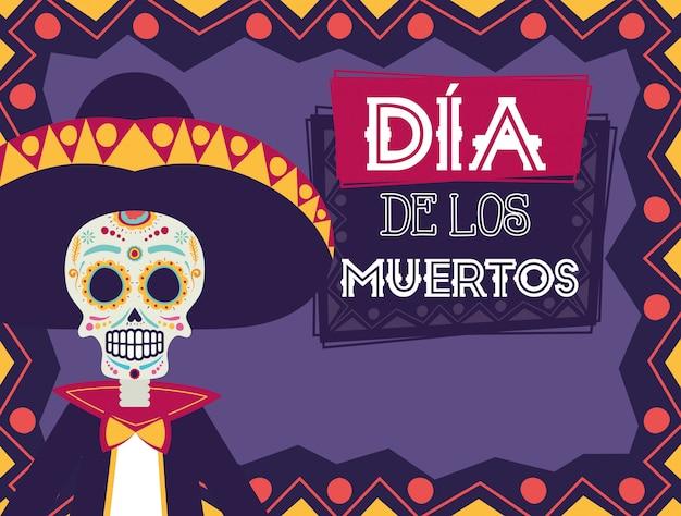 Cartão de dia de los muertos com mariachi caveira e flores