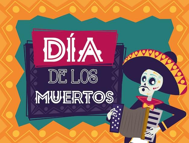 Cartão de dia de los muertos com mariachi crânio tocando acordeão