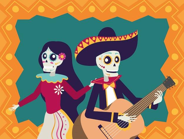 Cartão de dia de los muertos com mariachi tocando violão e catrina