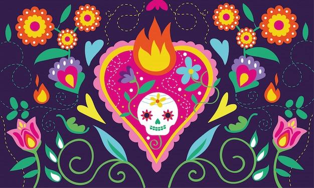 Cartão de dia de muertos com caveira de coração e decoração floral