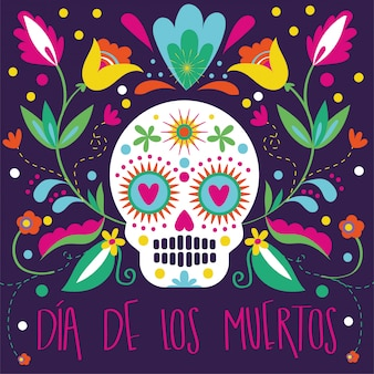 Cartão de dia de muertos com caveira e decoração floral