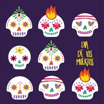 Cartão de dia de muertos com letras e caveiras