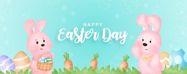 Cartão de dia de páscoa com coelhos bonitos e ovos de páscoa.