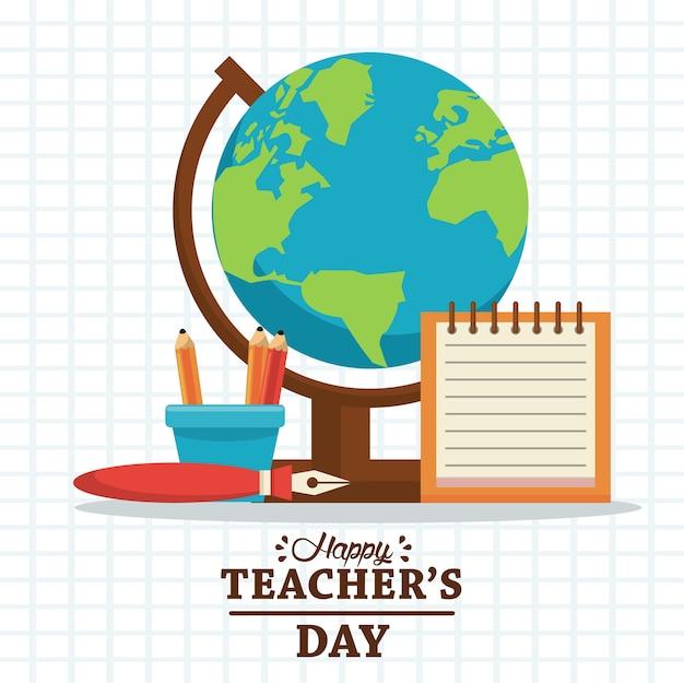 Cartão de dia de professores feliz com letras e suprimentos.