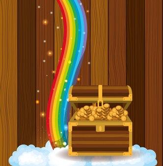 Cartão de dia de saint patricks com baú de tesouro