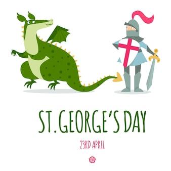 Cartão de dia de st. george com cavaleiro e dragão.