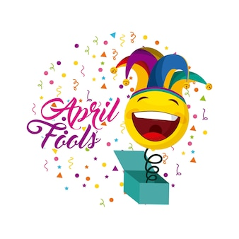 Cartão de dia de tolos de abril com ícone de caixa de piada