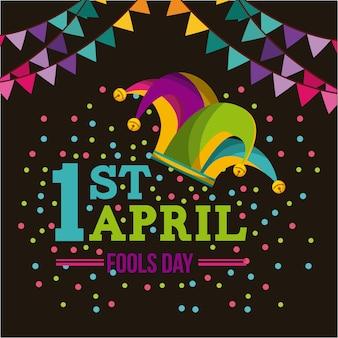 Cartão de dia de tolos de abril com o ícone de chapéu de bobo da corte