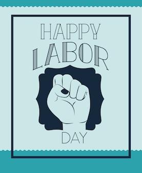 Cartão de dia de trabalho feliz com punho de mão