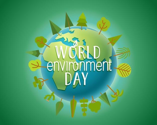 Cartão de dia do meio ambiente mundial feliz.