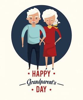 Cartão de dia dos avós feliz com desenhos animados