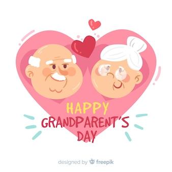 Cartão de dia dos avós feliz com personagens fofinhos de avô e avó