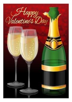 Cartão de dia dos namorados. abra uma garrafa de champanhe, dois copos cheios em um fundo de corações vermelhos e a inscrição de saudação - feliz dia dos namorados. ilustração