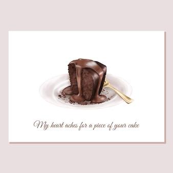Cartão de dia dos namorados bolo de chocolate