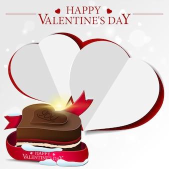 Cartão de dia dos namorados branco com doces de chocolate